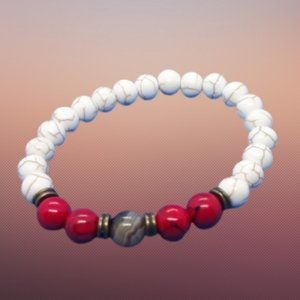 Red & White Turquoise with Jasper Stone Bracelet
